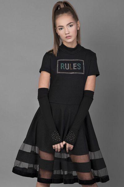 Купить Платье+митенки, Noble People, Черный, Полиэстер-85%, Модал-10%, Эластан-5%, Женский