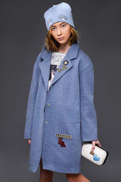 Купить Пальто, Laddobbo, Голубой, Шерсть-70%, Полиэстер-30%, Женский