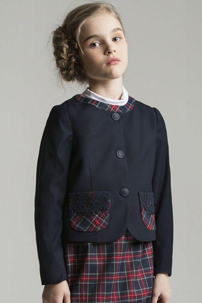 "Жакет ""Карманы из шотландки"" для девочки 28614-34 синий Noble People ""Карманы, Китай (КНР)"