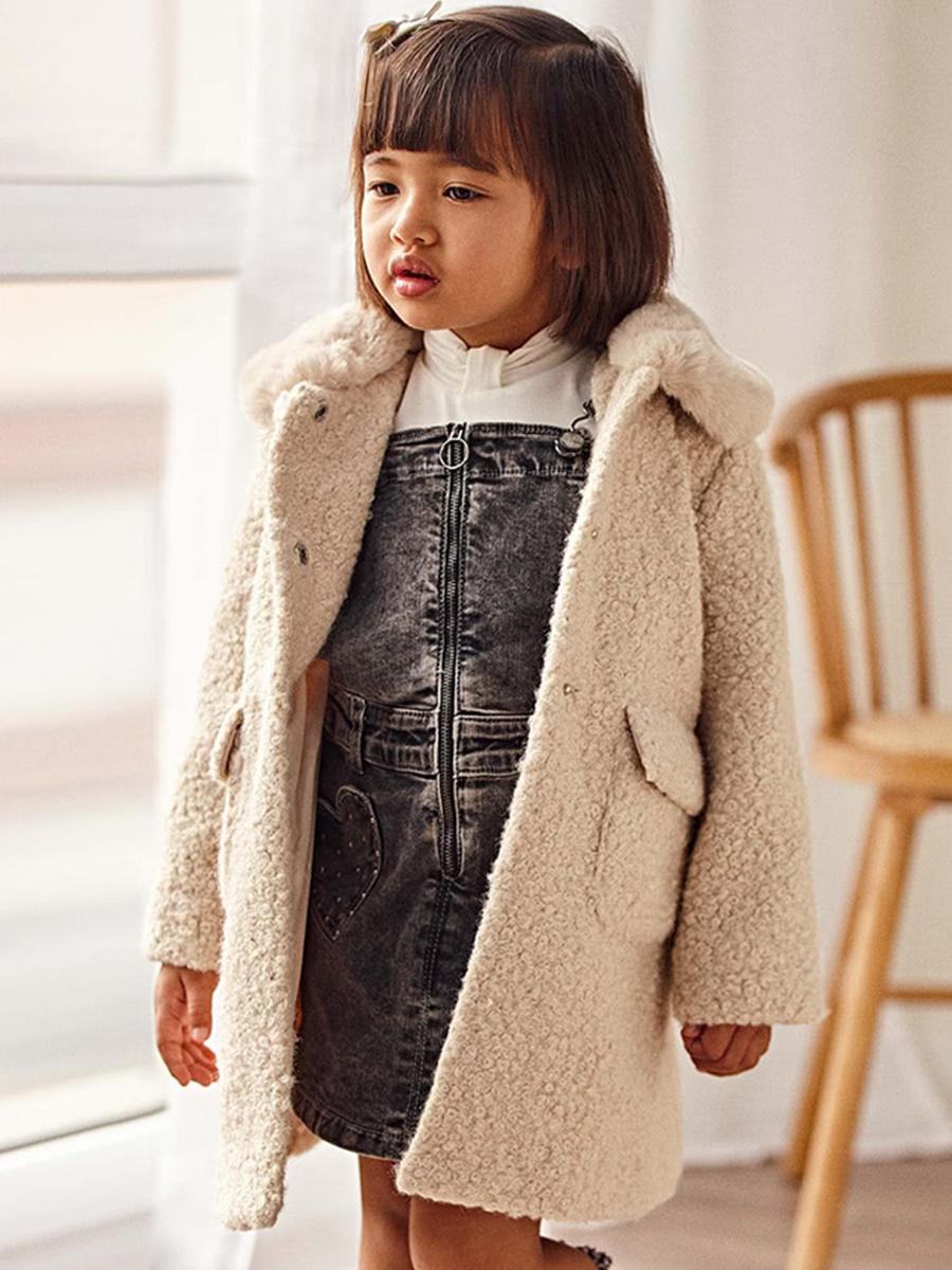 пальто mayoral для девочки, бежевое