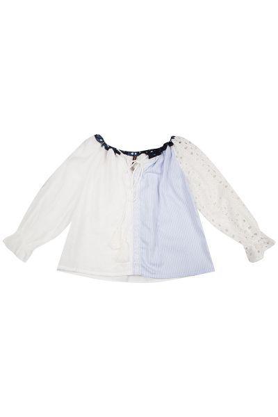 Купить Блуза, Manila Grace, Белый, Хлопок-98%, Эластан-2%, Женский