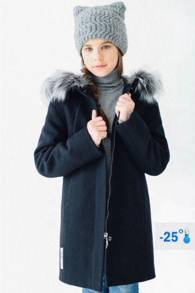 Купить Пальто, Mamma Mila, Синий, Шерсть-60%, Полиэстер-40%, Женский