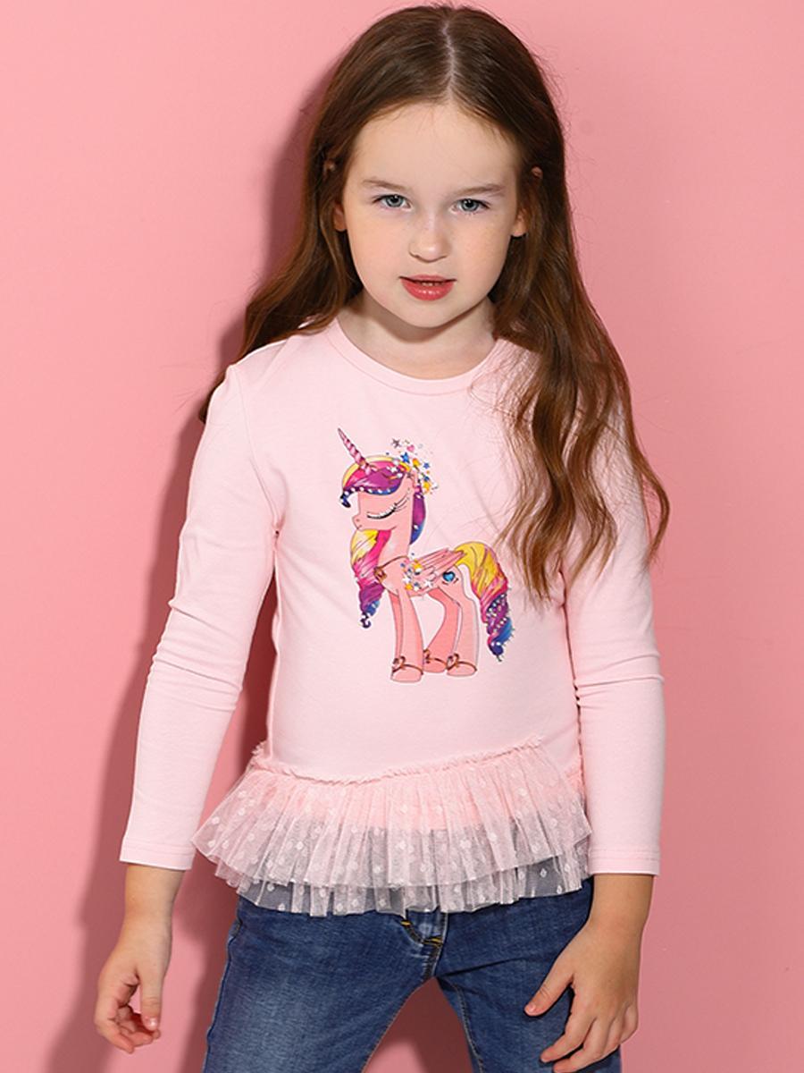 лонгслив noble people для девочки, розовый