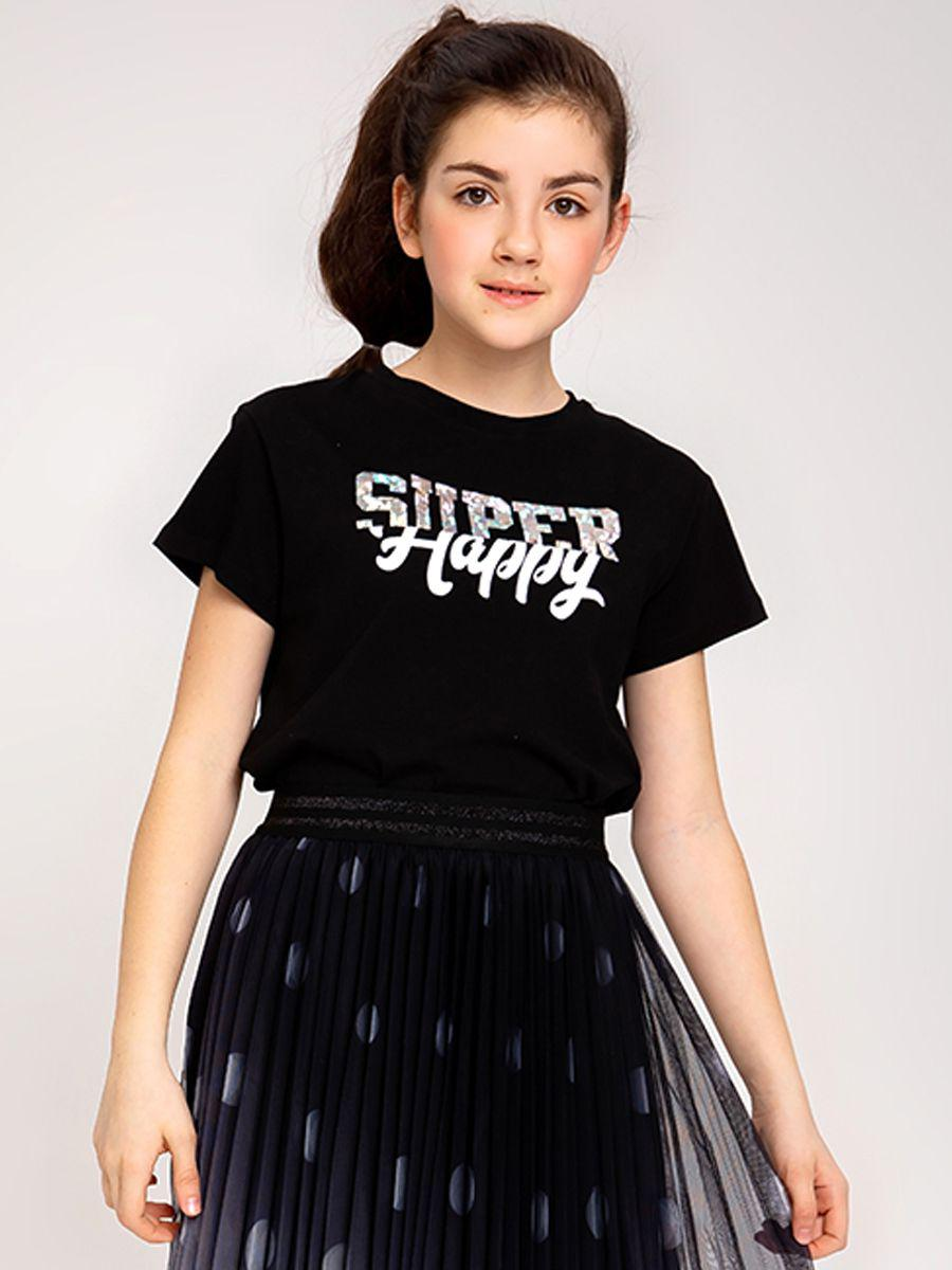 футболка noble people для девочки, черная