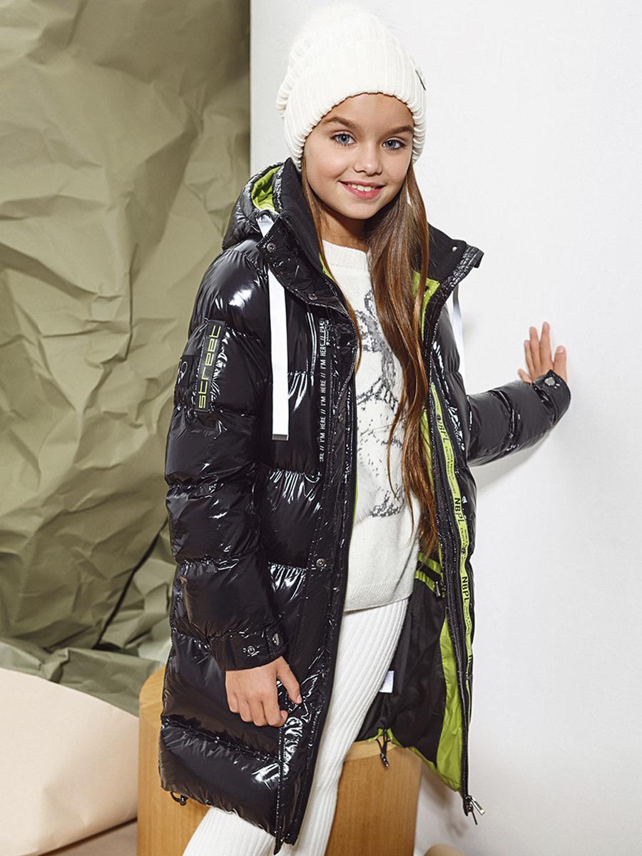 пальто noble people для девочки, черное