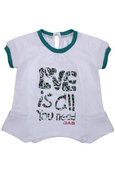 футболка gas для девочки, белая