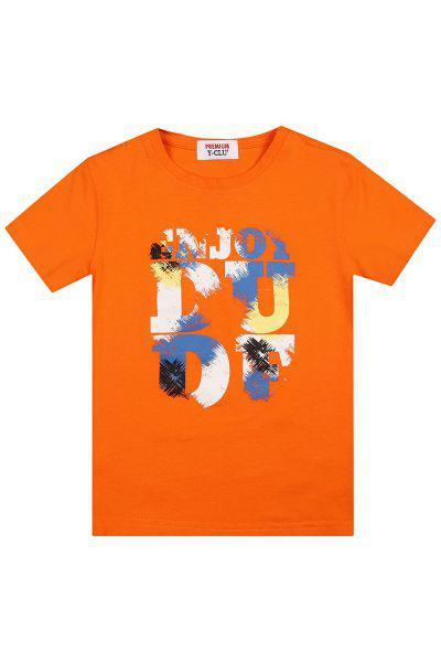 Купить Футболка, Y-clu', Оранжевый, Хлопок-94%, Эластан-6%, Мужской