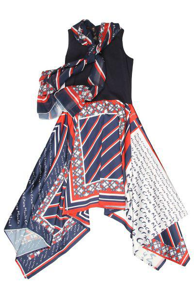 Платье, Manila Grace, Синий, Хлопок-96%, Эластан-4%, Женский  - купить со скидкой
