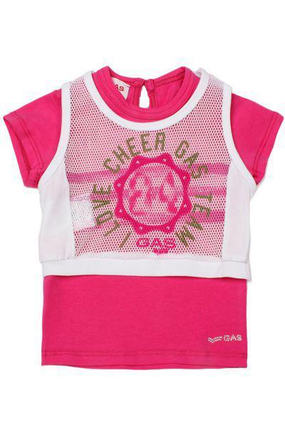 футболка gas для девочки, розовая