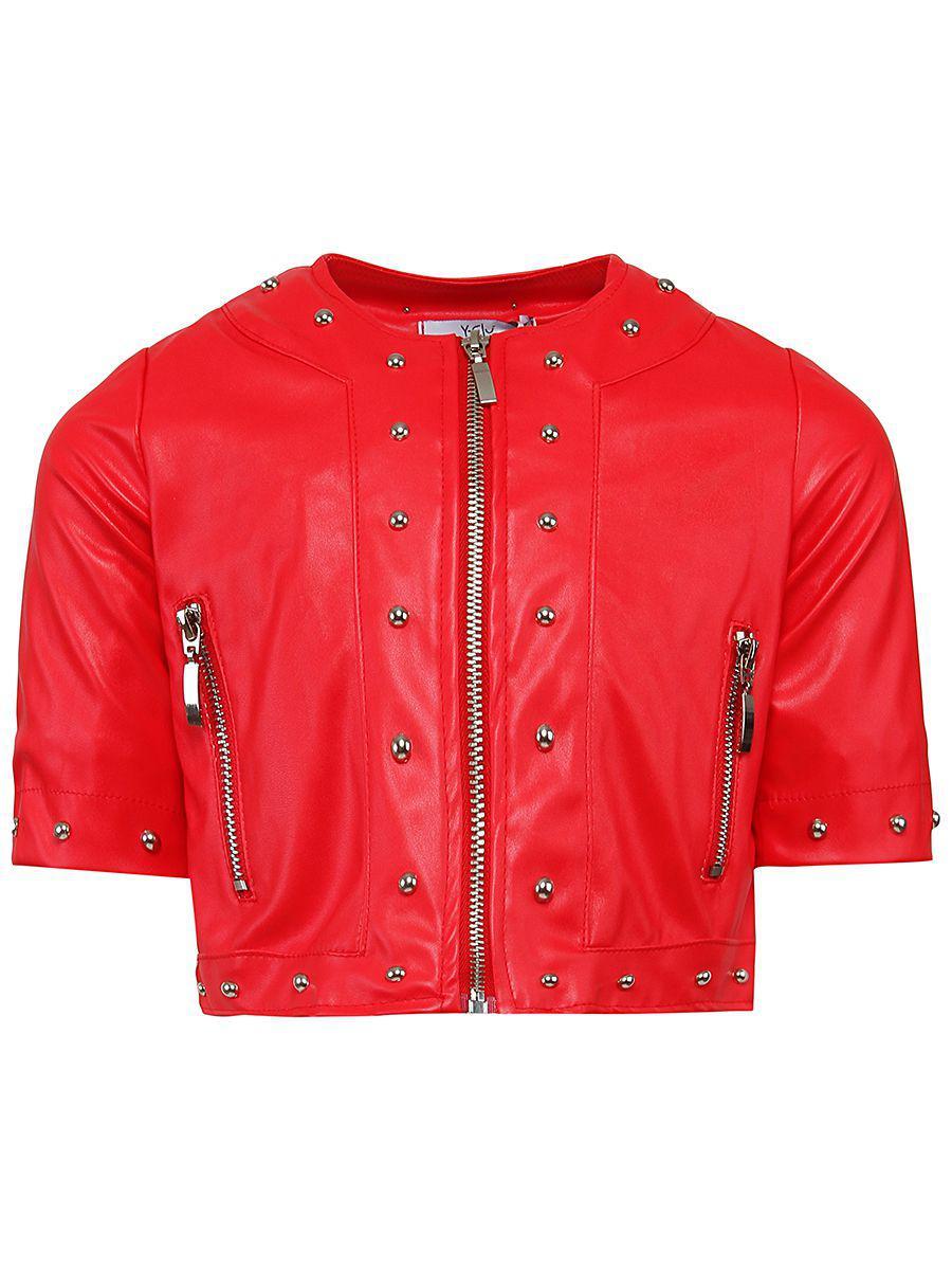 куртка косухи y-clu' для девочки, красная