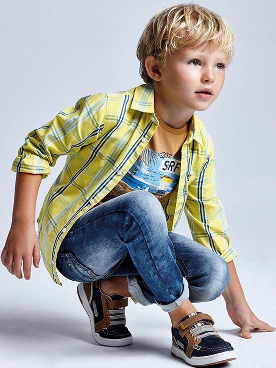 рубашка mayoral для мальчика, желтая