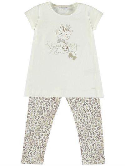 футболка mayoral для девочки, бежевая