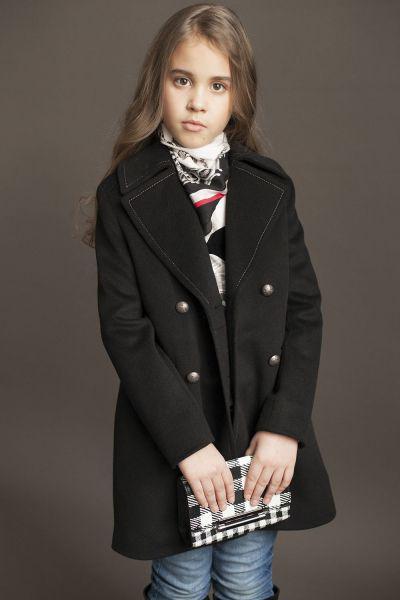 Купить Пальто, Mamma Mila, Черный, Полиэстер-65%, Шерсть-35%, Женский