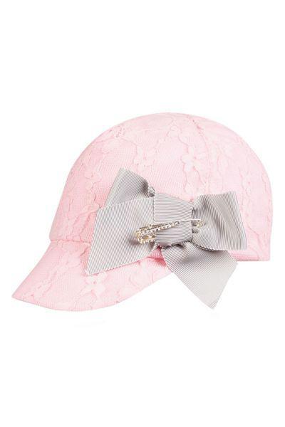 """Бейсболка """"Кружевное полотно"""" для девочки 29517-220 белый Noble People """"Кружевное розовый, Российская Федерация"""