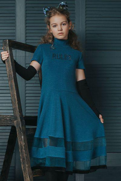 Купить Платье+митенки, Noble People, Голубой, Полиэстер-85%, Модал-10%, Эластан-5%, Женский
