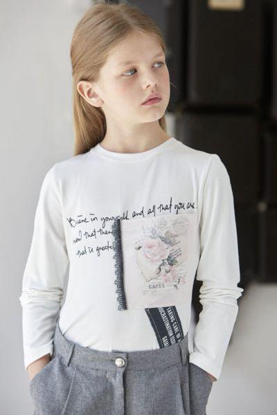 Купить Лонгслив, Gaialuna, Белый, Хлопок-100%, Женский