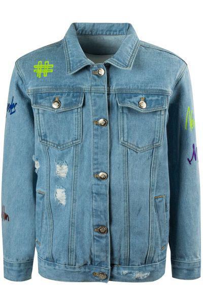 Купить Куртка, Stefania, Голубой, Хлопок-95%, Полиэстер-5%, Женский