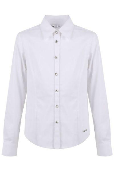 Купить Блуза, De Salitto, Белый, Хлопок-97%, Эластан-3%, Женский