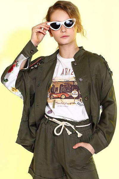 Купить Куртка, Manila Grace, Зеленый, Хлопок-96%, Эластан-4%, Женский