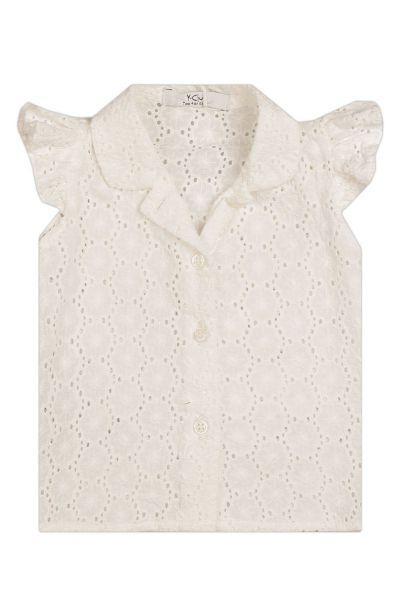 Купить Блуза, Y-clu', Белый, Хлопок-97%, Эластан-3%, Женский
