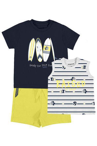 Купить Футболка+майка+шорты, Mayoral, Разноцветный, Хлопок-100%, Мужской
