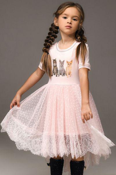 Купить Платье, Noble People, Розовый, Хлопок-95%, Эластан-5%, Женский