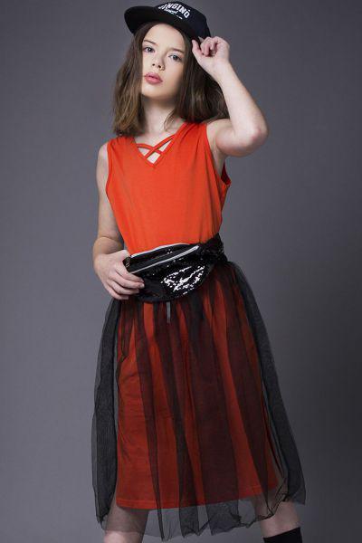 Купить Платье+юбка, Noble People, Оранжевый, Хлопок-100%, Женский