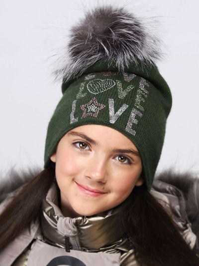 шапка noble people для девочки, зеленая