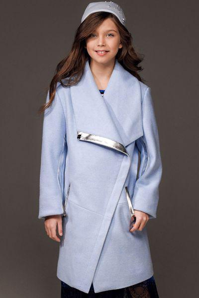 Купить Пальто, Noble People, Голубой, Полиэстер-80%, Акрил-15%, Шерсть-5%, Женский