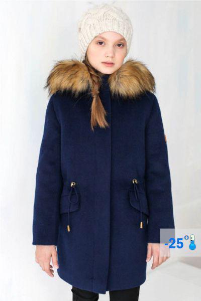 Купить Пальто, Mamma Mila, Синий, Полиэстер-65%, Шерсть-35%, Женский