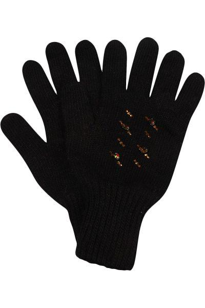 """Перчатки """"Косы2"""" для девочки 29515-1309P голубой Noble People """"Косы2"""" чёрный, Российская Федерация"""