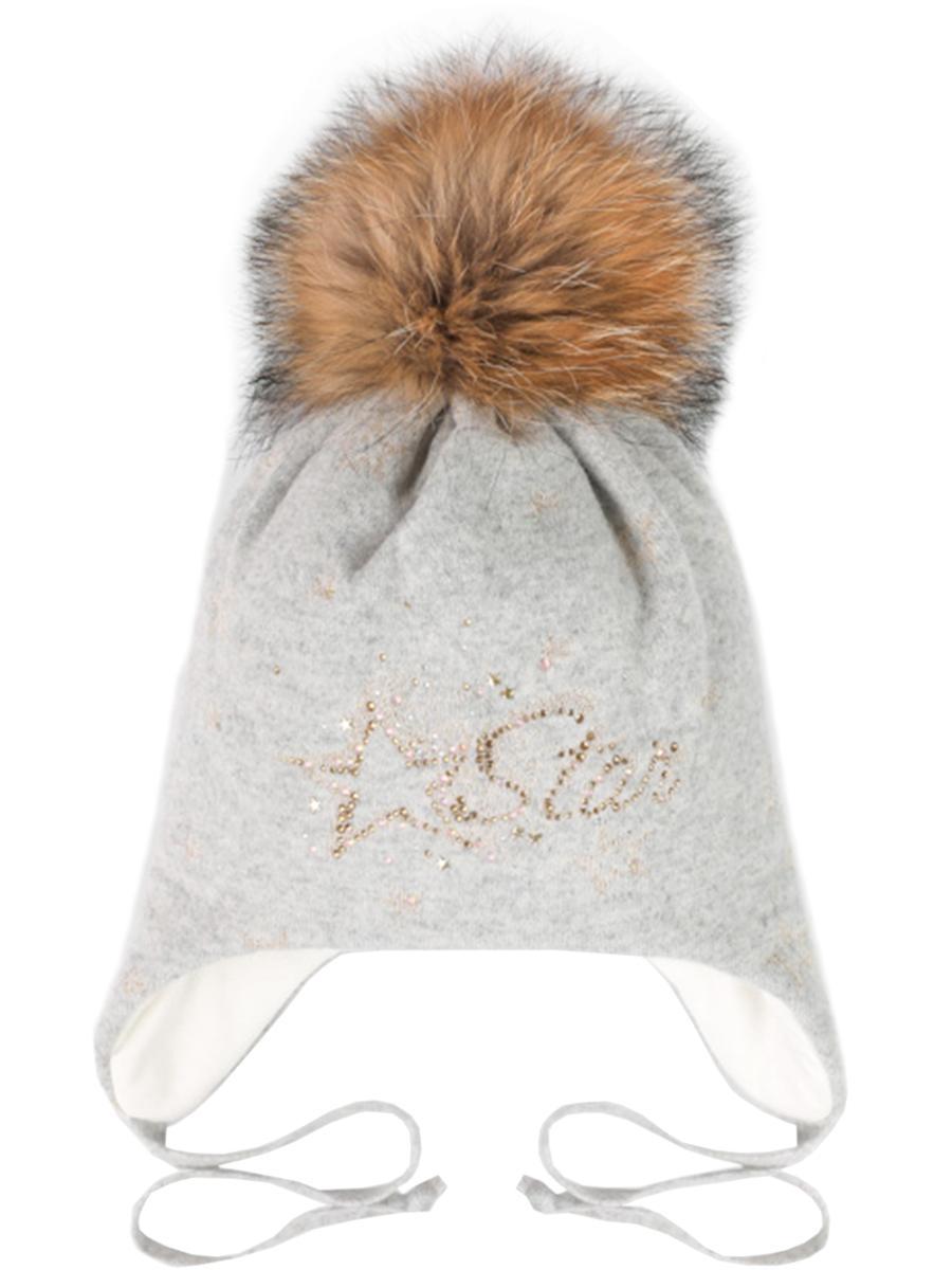шапка dan&dani для девочки, серая