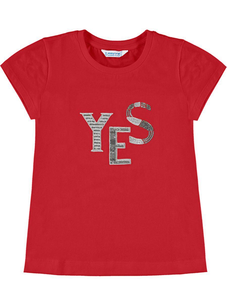 футболка mayoral для девочки, красная