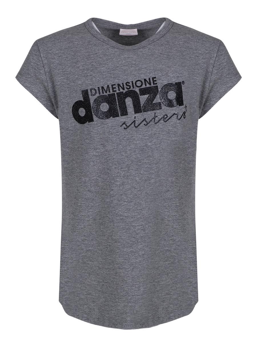 футболка dimensione danza для девочки, серая