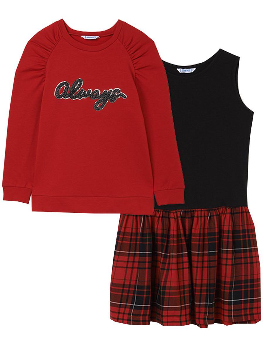 Купить Платье+пуловер, Mayoral, Красный, Хлопок-55%, Полиэстер-40%, Эластан-5%, Женский