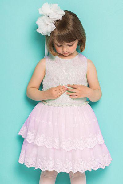 платье silver spoon для девочки, розовое