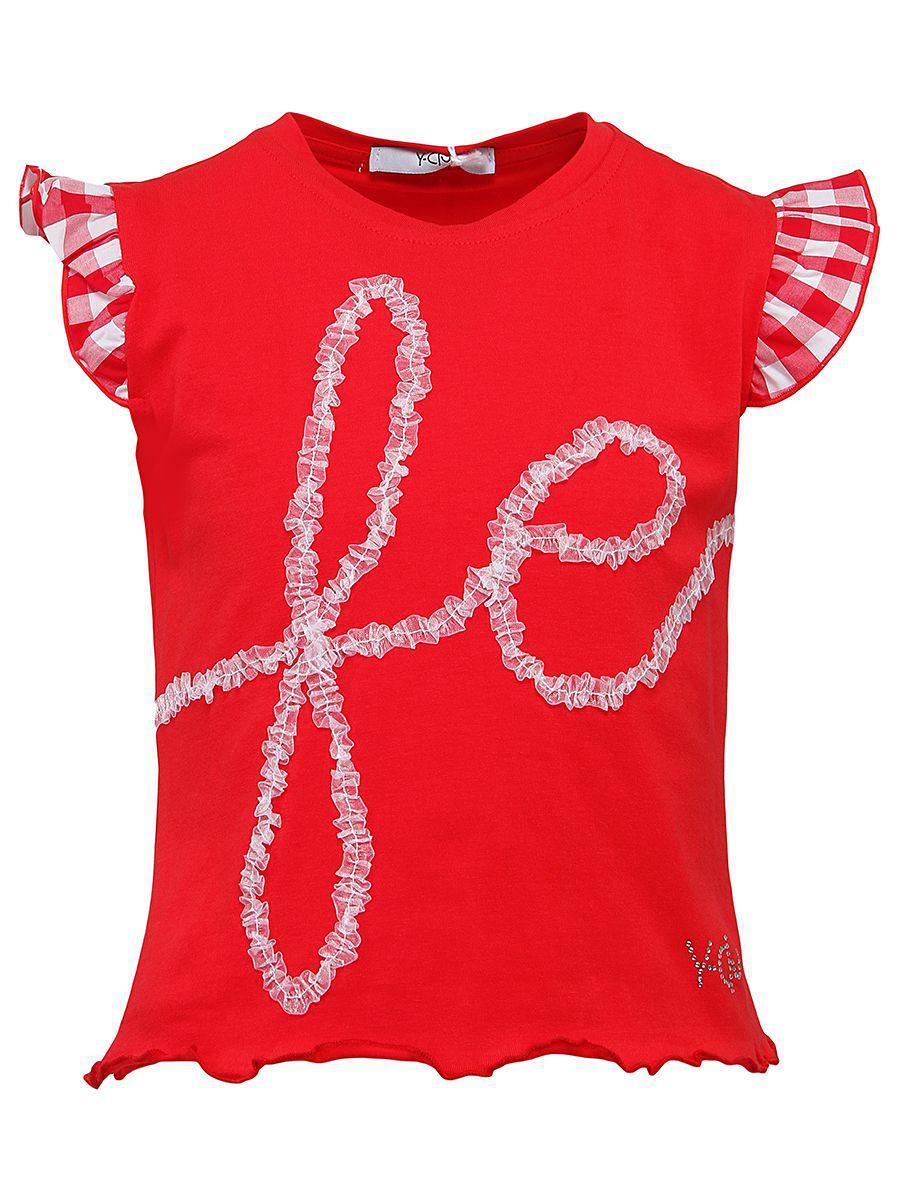 футболка y-clu' для девочки, красная