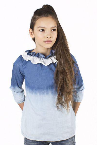 Купить Блуза, Noble People, Голубой, Хлопок-100%, Женский