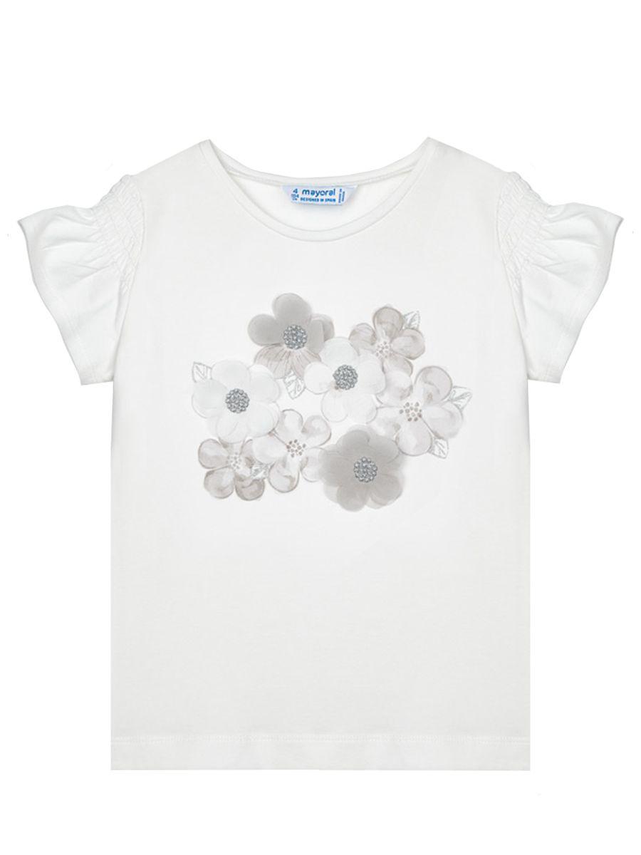 футболка mayoral для девочки, белая