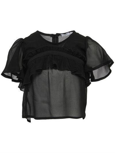 Купить Блуза, Y-clu', Черный, Хлопок-93%, Эластан-7%, Женский