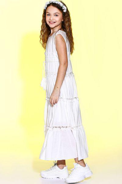 Купить Платье, Manila Grace, Белый, Хлопок-95%, Эластан-5%, Женский