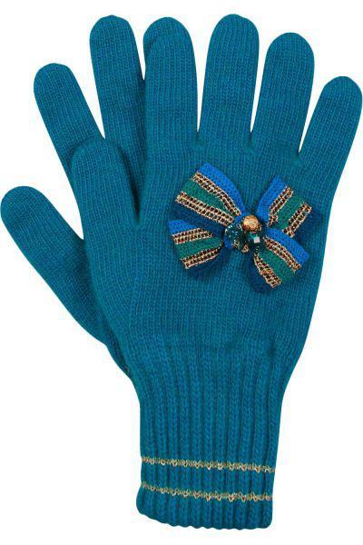 """Перчатки """"Полосатый бант"""" для девочки 29515-1342P чёрный Noble People """"Полосатый зелёный, Российская Федерация"""