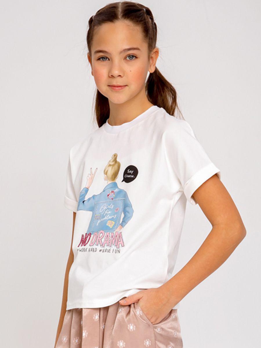 футболка noble people для девочки, белая