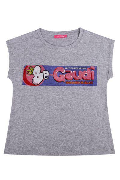 футболка gaudi для девочки, серая