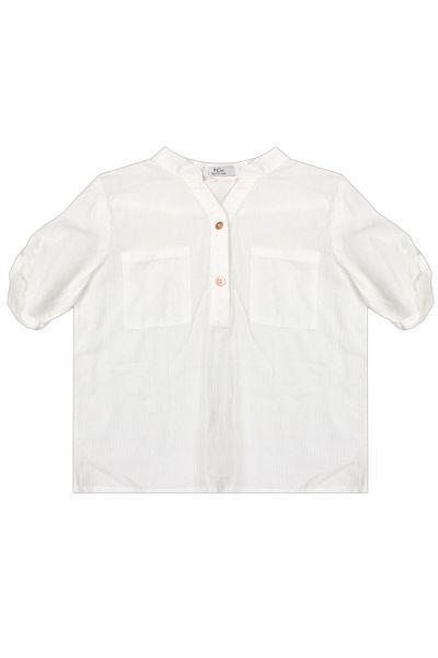 Купить Блуза, Y-clu', Белый, Хлопок-90%, Эластан-10%, Женский