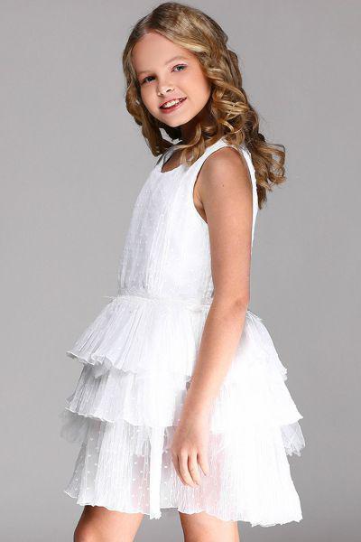 Платье, Y-clu', Белый, Полиэстер-100%, Женский  - купить со скидкой