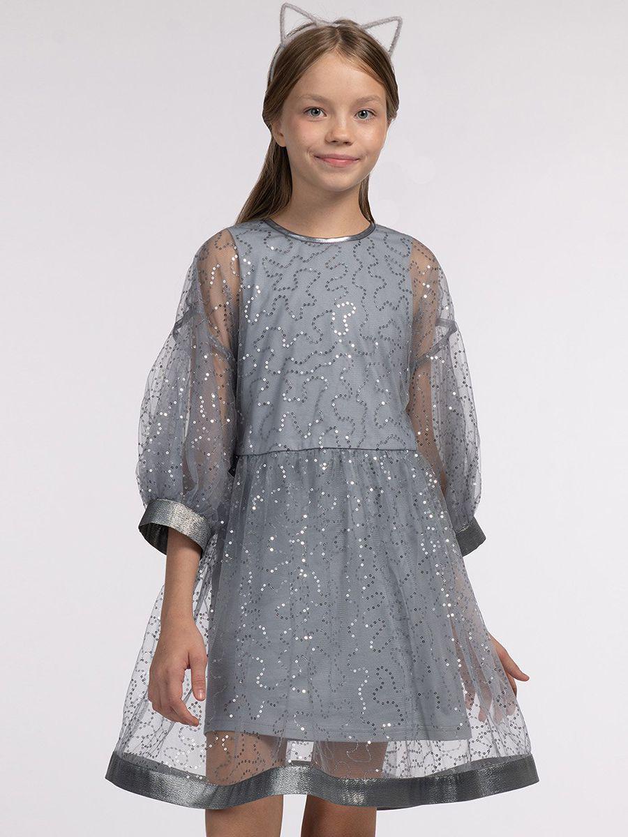 платье смена для девочки, серое