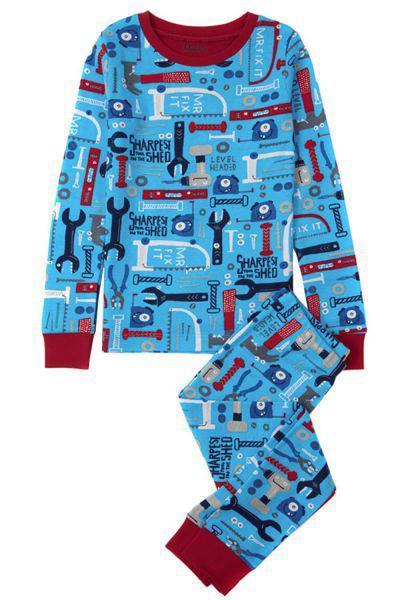 Пижама, Hatley, Голубой, Хлопок-100%, Мужской  - купить со скидкой