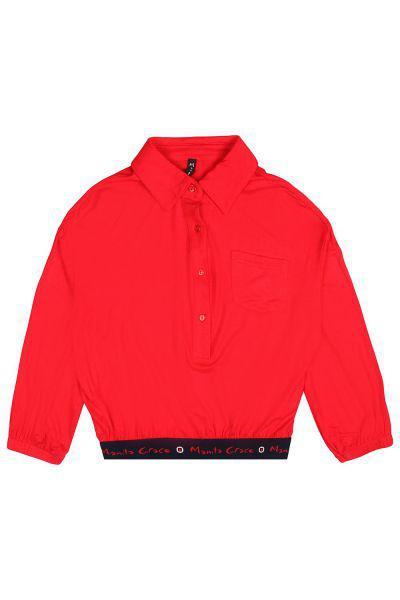 Купить Блуза, Manila Grace, Красный, Хлопок-98%, Эластан-2%, Женский