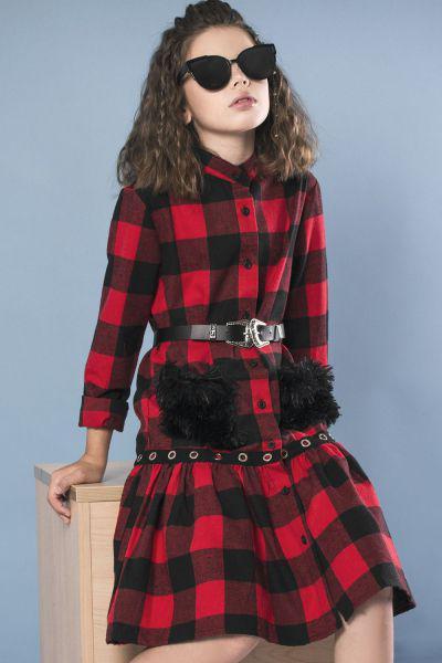 Купить Платье, Y-clu', Красный, Хлопок-100%, Женский
